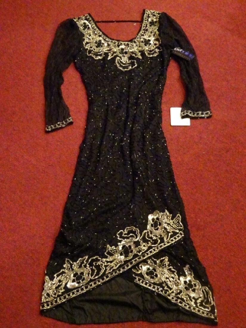 BLACK SILK EVENING GOWN BY SWEELO, BEADED AND SEQUINED, - 8