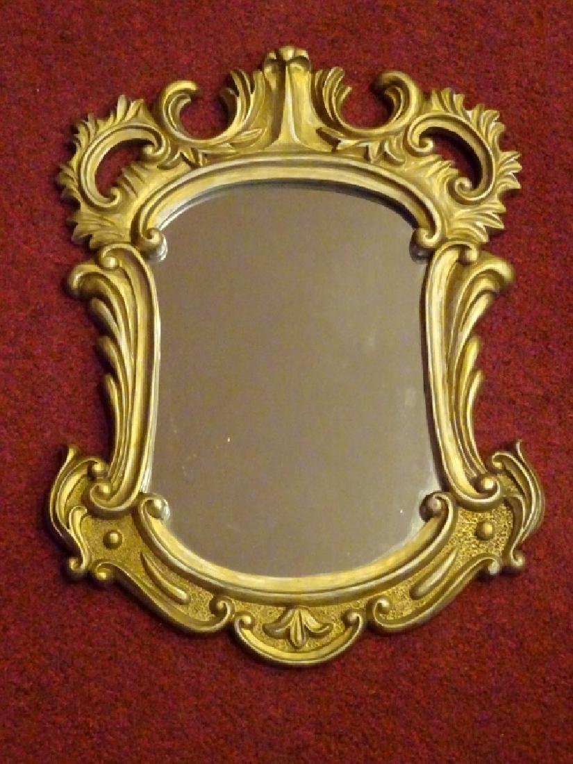 SMALL ROCOCO GILT WOOD MIRROR, SILVERY GOLD FINISH,