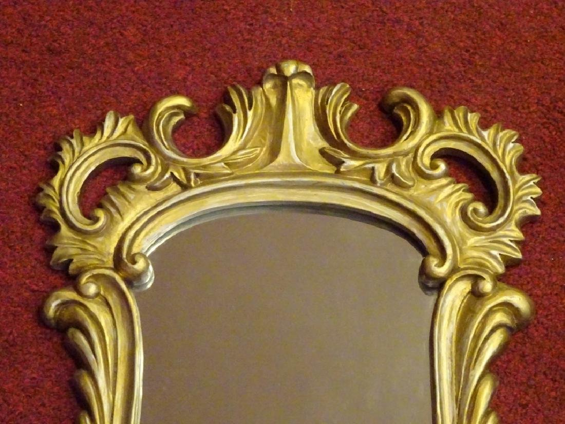 SMALL ROCOCO GILT WOOD MIRROR, SILVERY GOLD FINISH, - 2