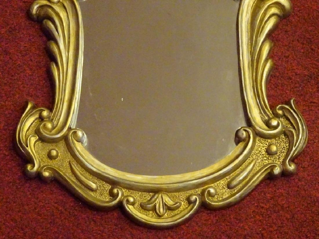 SMALL ROCOCO GILT WOOD MIRROR, SILVERY GOLD FINISH, - 3