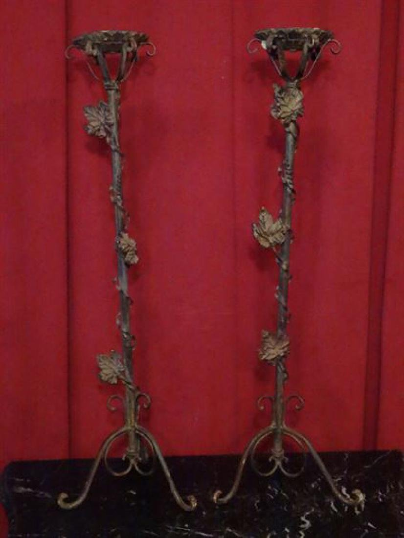PAIR LARGE METAL CANDLE HOLDERS, LEAF AND VINE DESIGN,