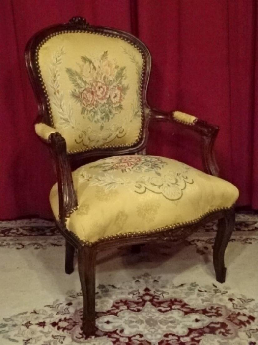 LOUIS XV STYLE FAUTEUIL ARM CHAIR, DARK FINISH CARVED