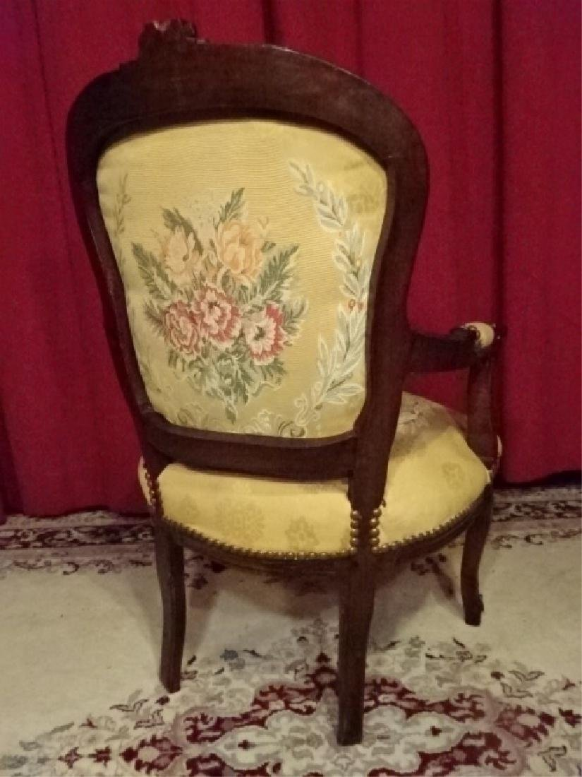 LOUIS XV STYLE FAUTEUIL ARM CHAIR, DARK FINISH CARVED - 6