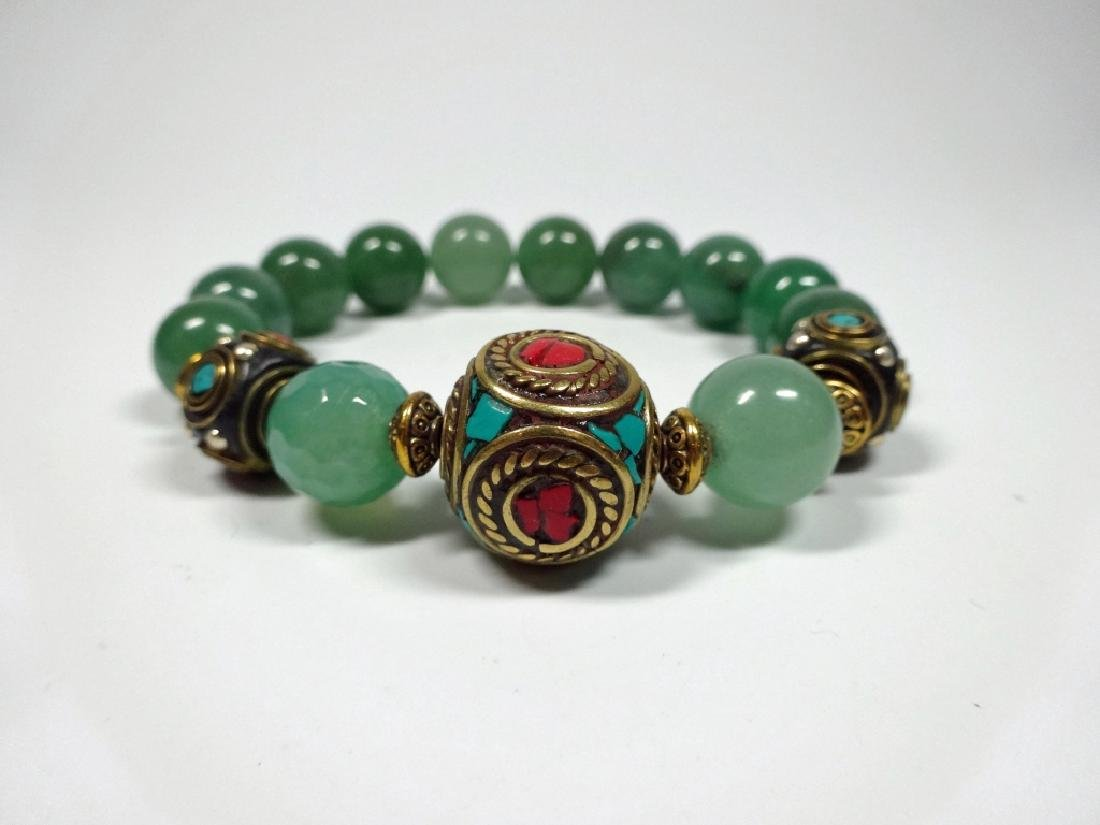 JADE BEAD STRETCH BRACELET, TURQUOISE & CORAL ACCENTED