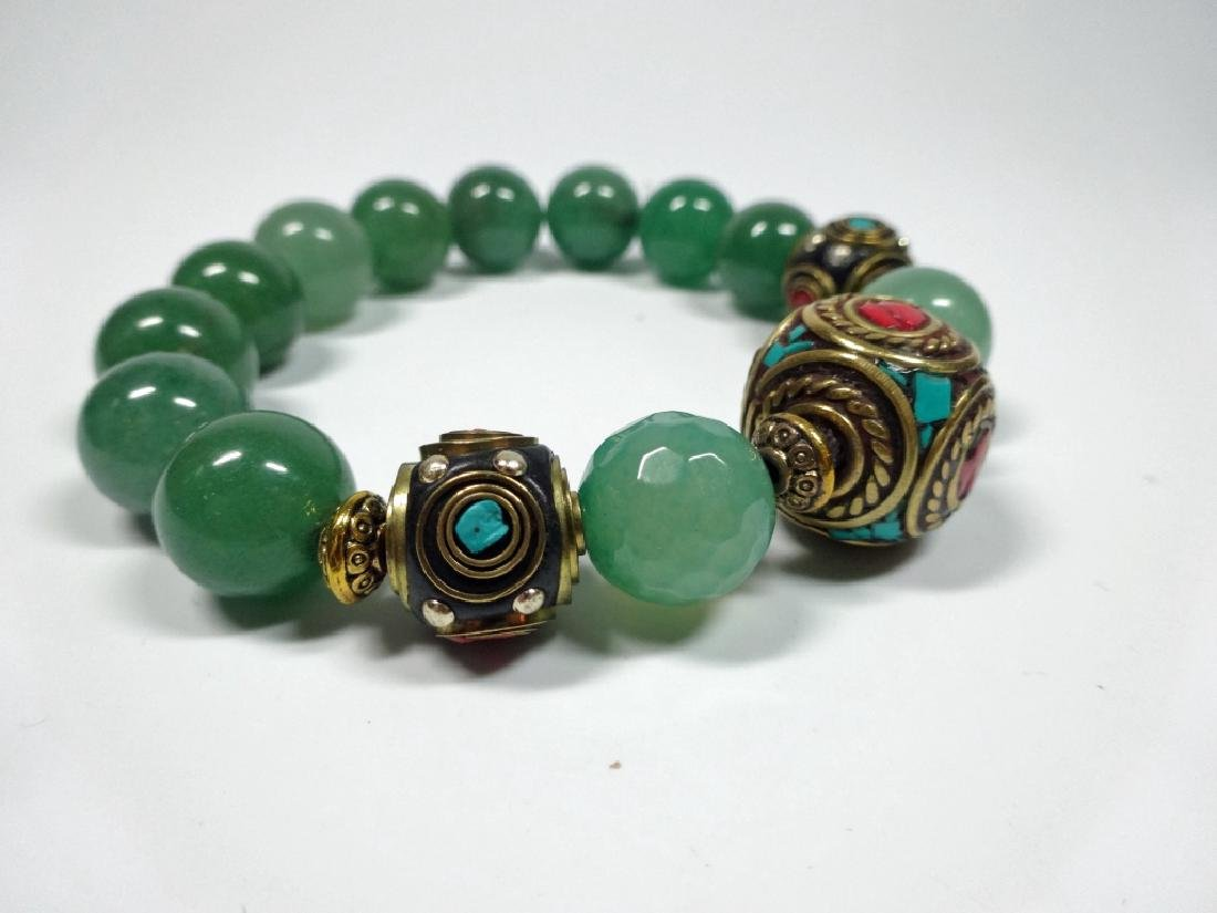 JADE BEAD STRETCH BRACELET, TURQUOISE & CORAL ACCENTED - 2