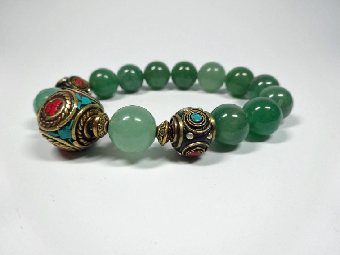 JADE BEAD STRETCH BRACELET, TURQUOISE & CORAL ACCENTED - 3
