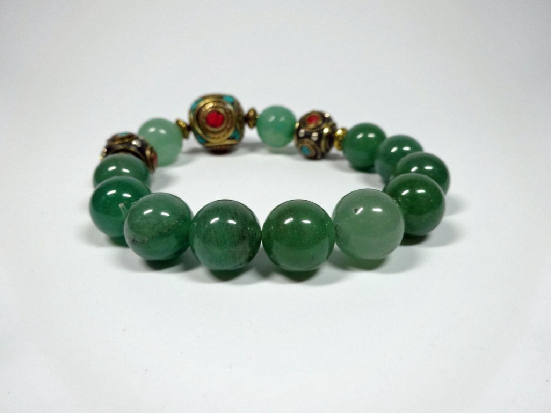 JADE BEAD STRETCH BRACELET, TURQUOISE & CORAL ACCENTED - 4