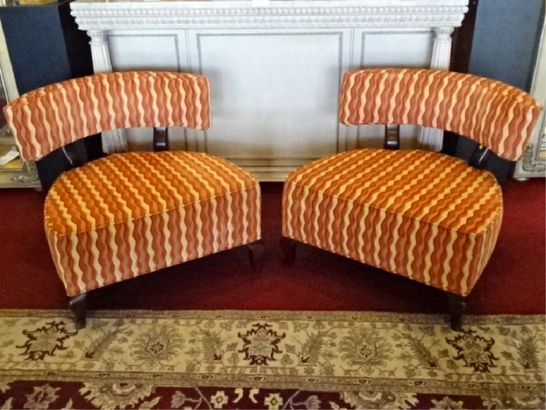 PAIR THAYER COGGIN CHAIRS, CURVED BACK, GEOMETRIC PRINT