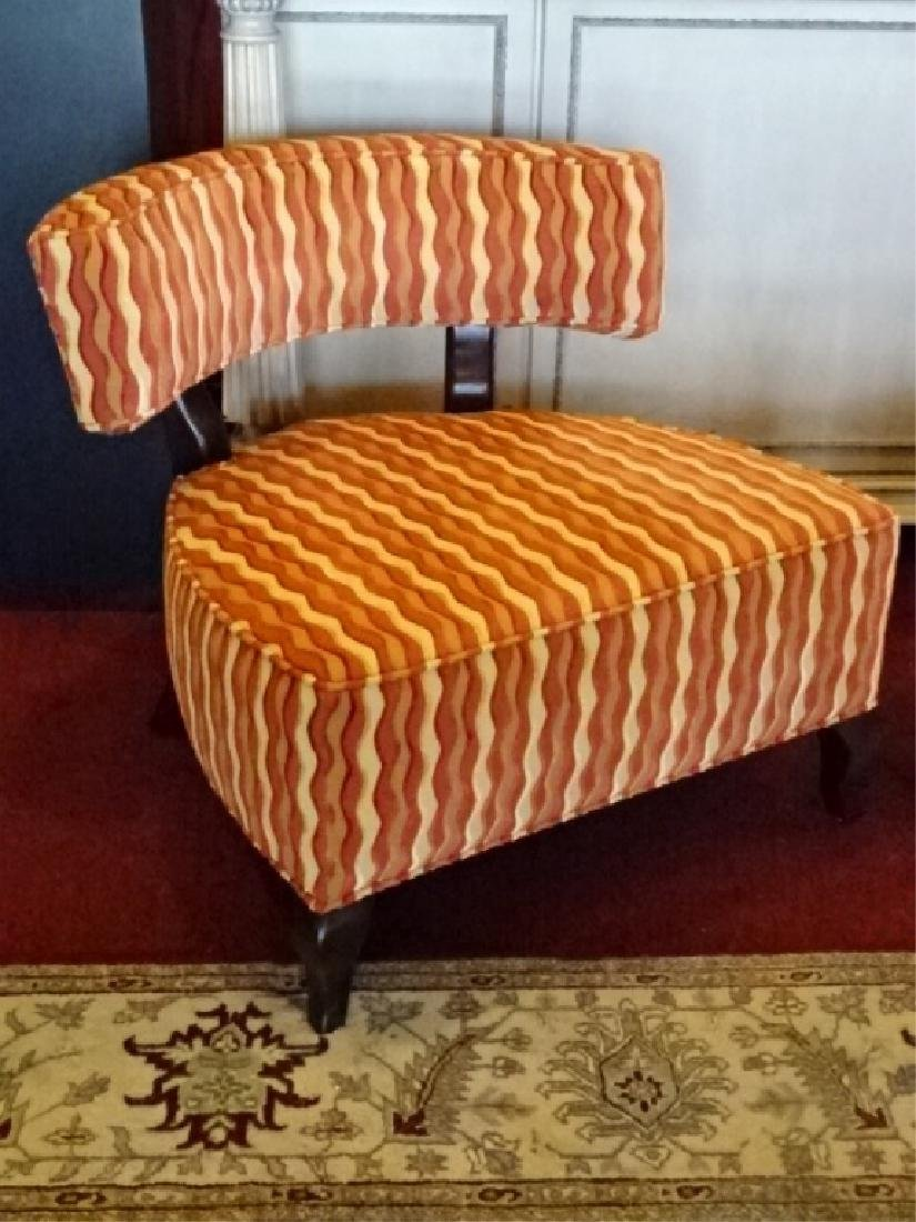 PAIR THAYER COGGIN CHAIRS, CURVED BACK, GEOMETRIC PRINT - 2