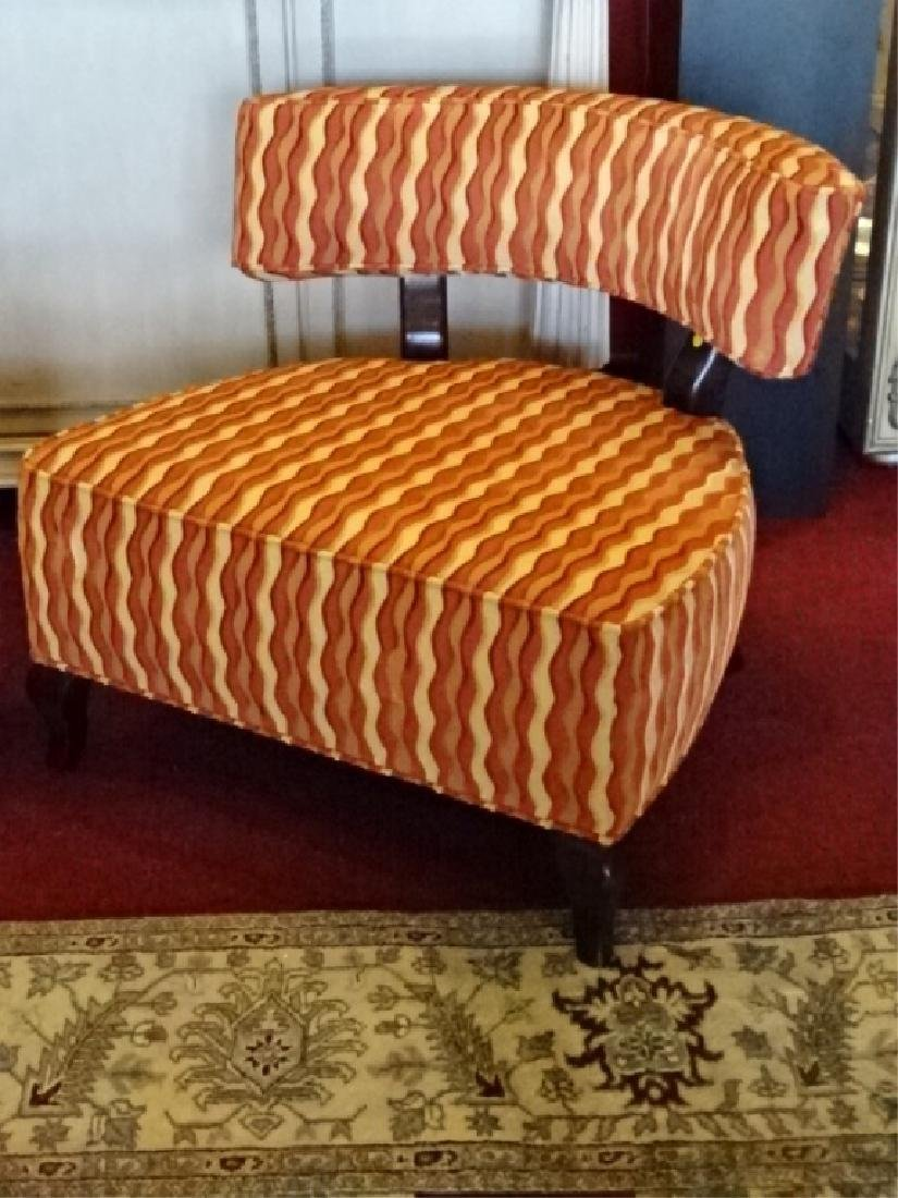 PAIR THAYER COGGIN CHAIRS, CURVED BACK, GEOMETRIC PRINT - 3