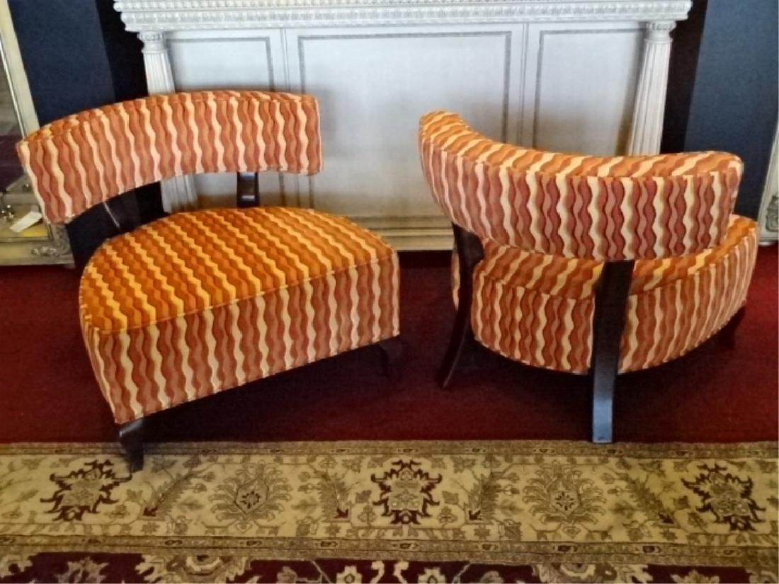 PAIR THAYER COGGIN CHAIRS, CURVED BACK, GEOMETRIC PRINT - 7