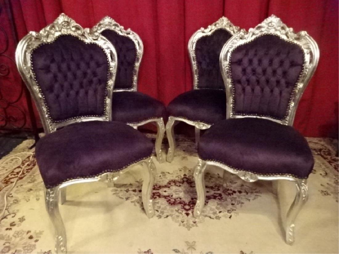 4 PC SET LOUIS XV STYLE SILVER GILT CHAIRS, TUFTED