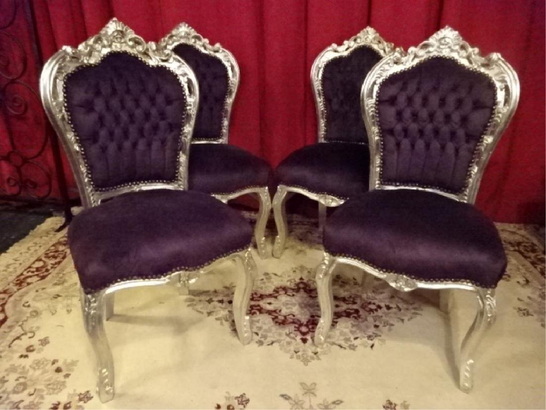 4 PC SET LOUIS XV STYLE SILVER GILT CHAIRS, TUFTED - 2