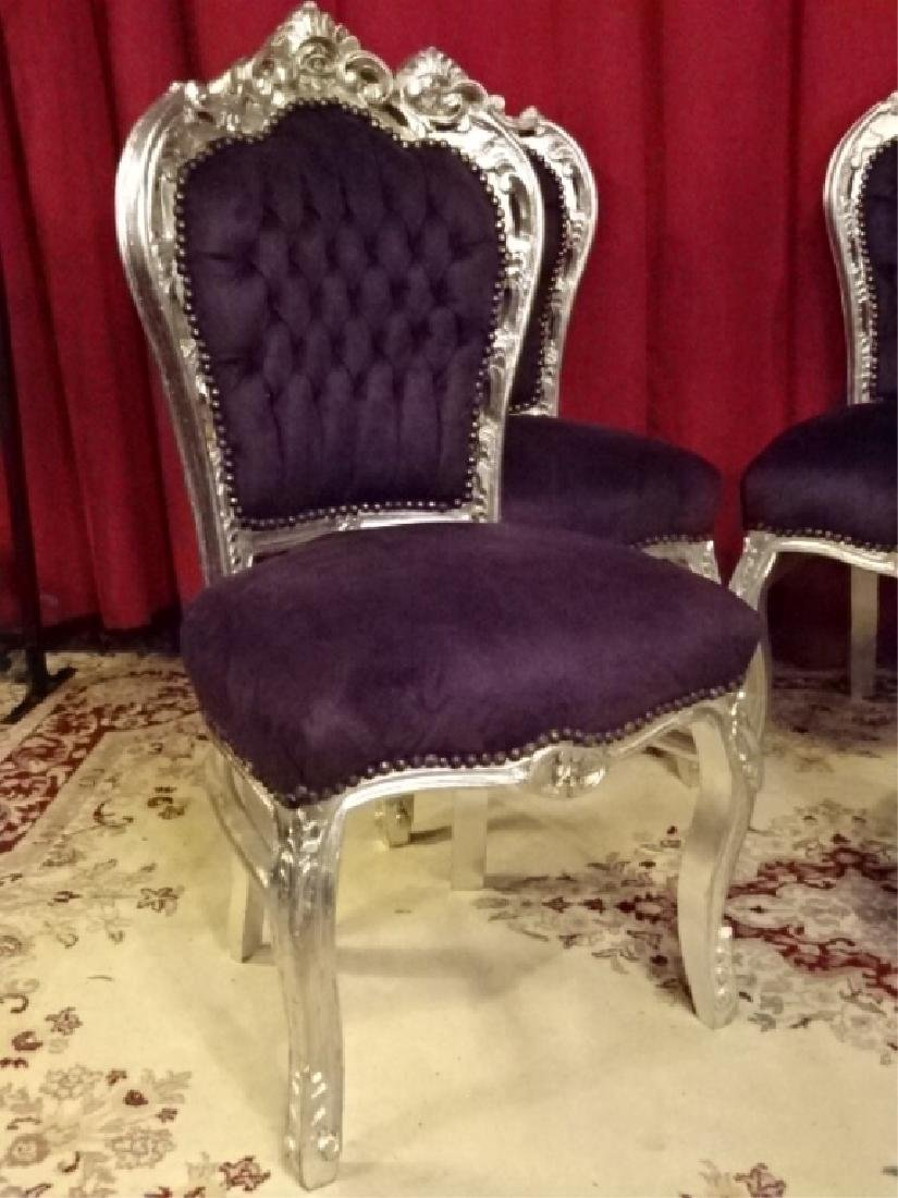 4 PC SET LOUIS XV STYLE SILVER GILT CHAIRS, TUFTED - 3