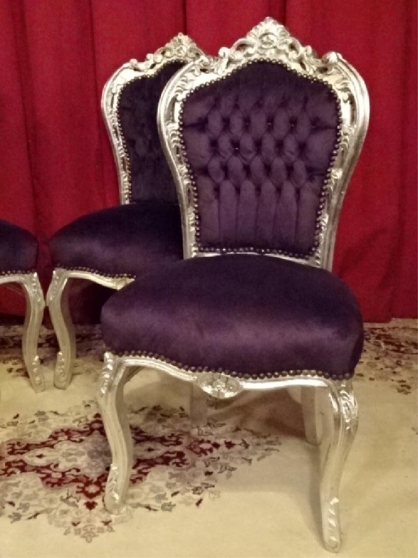 4 PC SET LOUIS XV STYLE SILVER GILT CHAIRS, TUFTED - 4