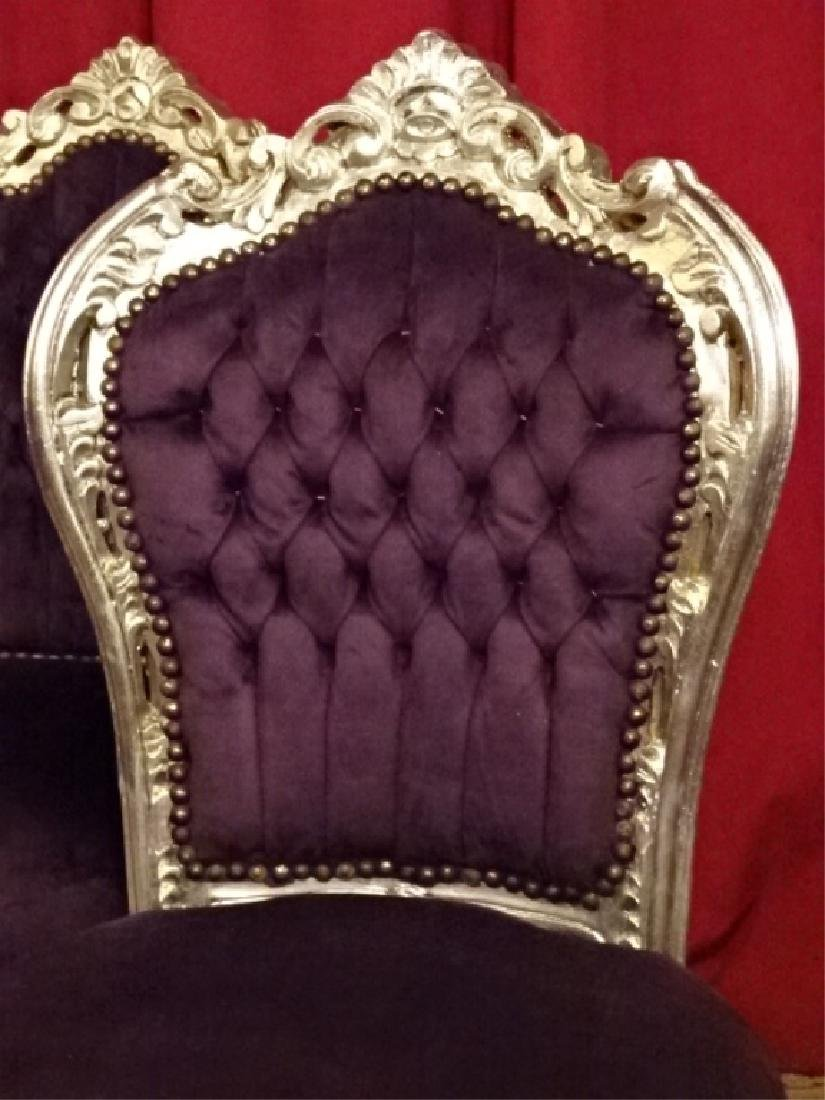 4 PC SET LOUIS XV STYLE SILVER GILT CHAIRS, TUFTED - 5
