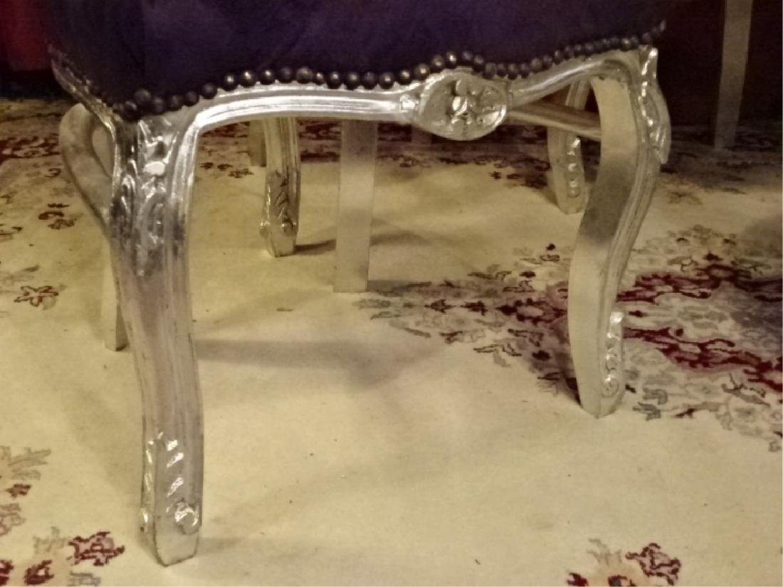 4 PC SET LOUIS XV STYLE SILVER GILT CHAIRS, TUFTED - 6