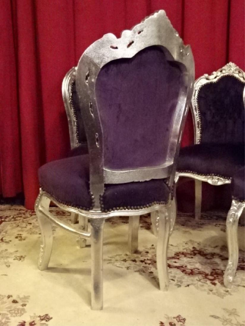 4 PC SET LOUIS XV STYLE SILVER GILT CHAIRS, TUFTED - 7