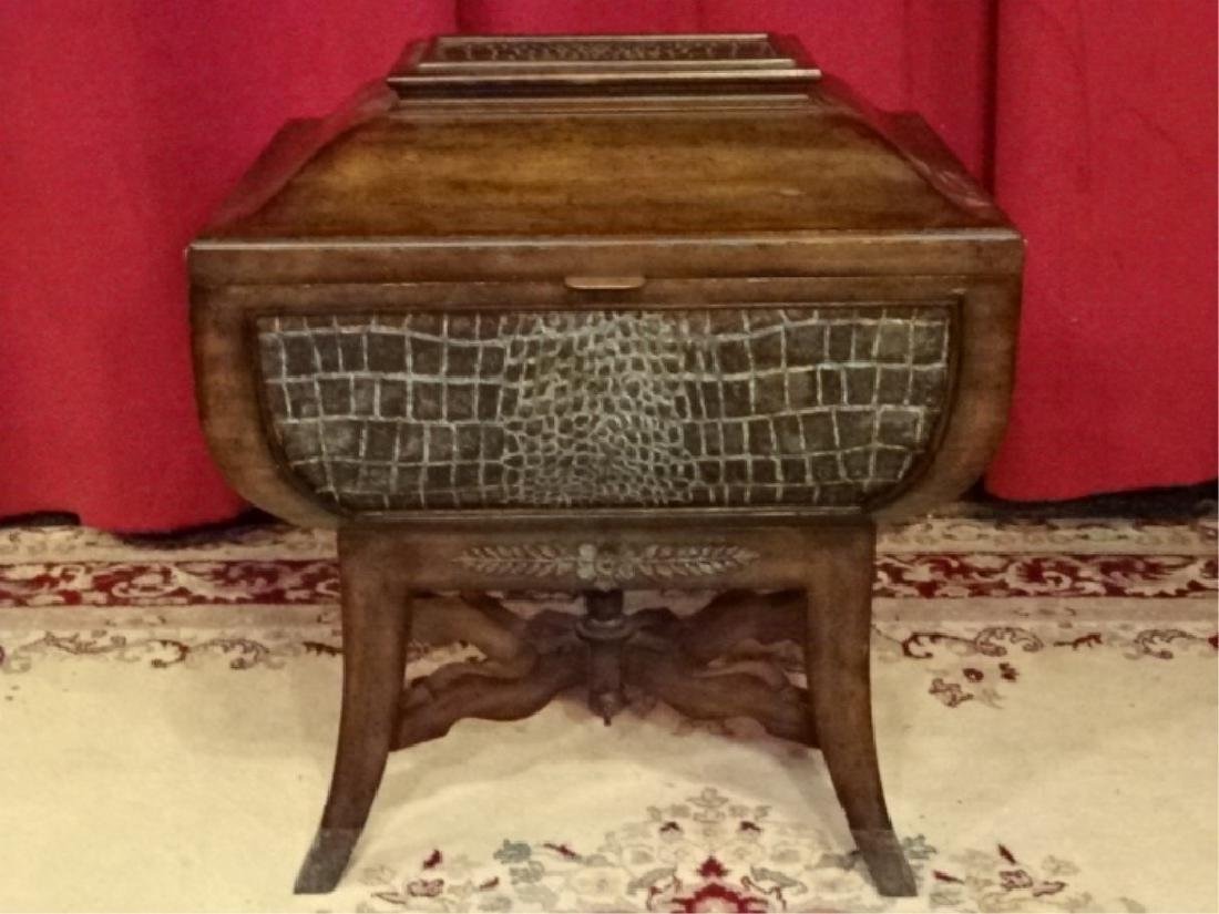 MAITLAND SMITH WOOD CHEST, FAUX ALLIGATOR EMBOSSED