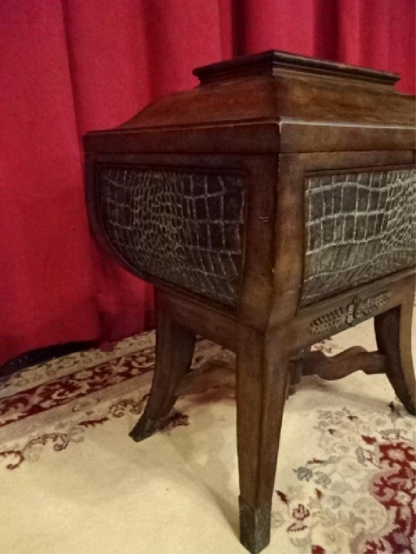 MAITLAND SMITH WOOD CHEST, FAUX ALLIGATOR EMBOSSED - 2