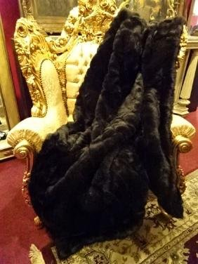 """LARGE FAUX MINK THROW, VERY GOOD CONDITION, 68"""" X 60"""""""