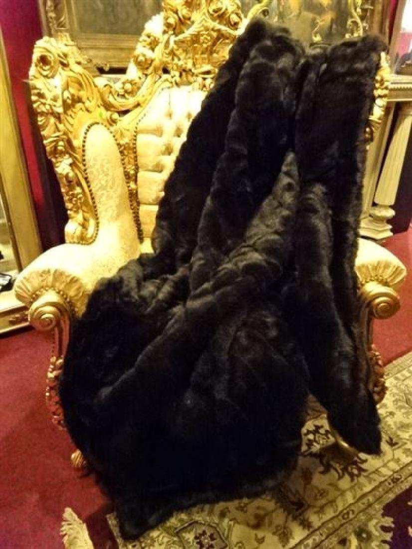 "LARGE FAUX MINK THROW, VERY GOOD CONDITION, 68"" X 60"""