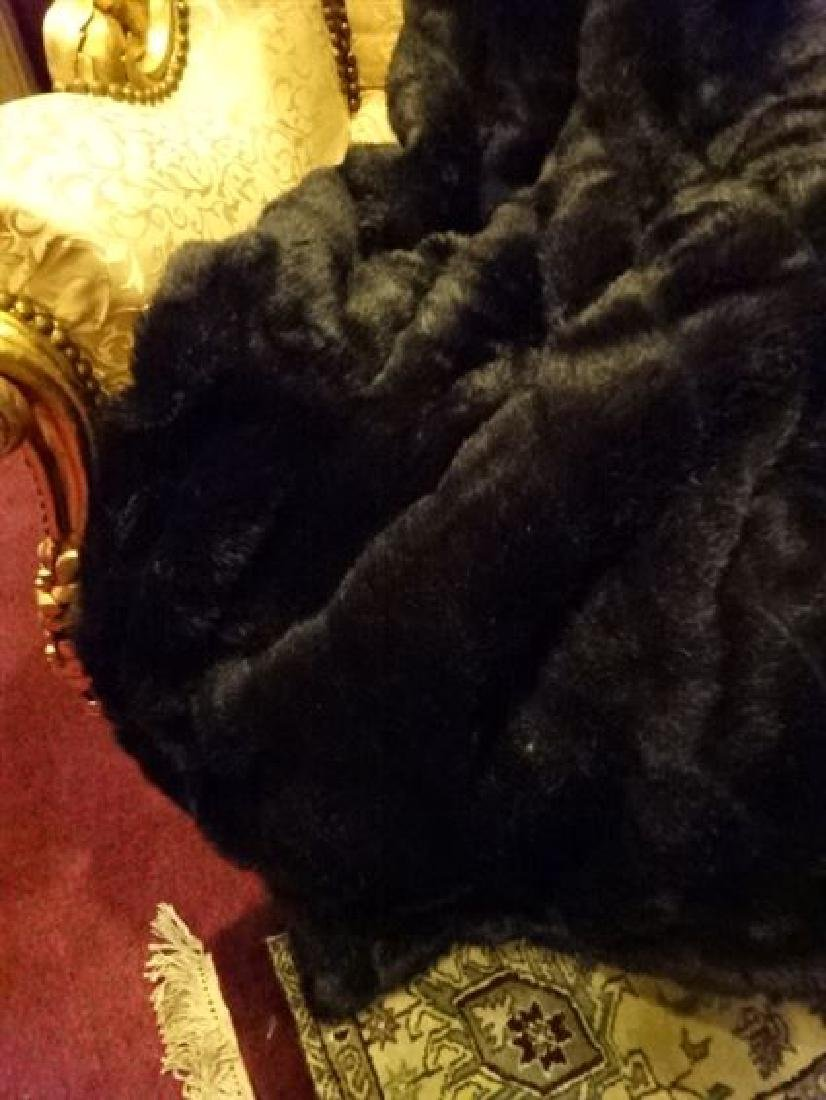 "LARGE FAUX MINK THROW, VERY GOOD CONDITION, 68"" X 60"" - 3"