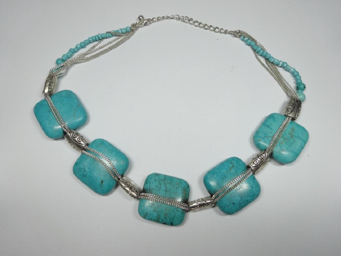 TURQUOISE NECKLACE, 5 LARGE SQUARE TURQUOISE STONES, - 2