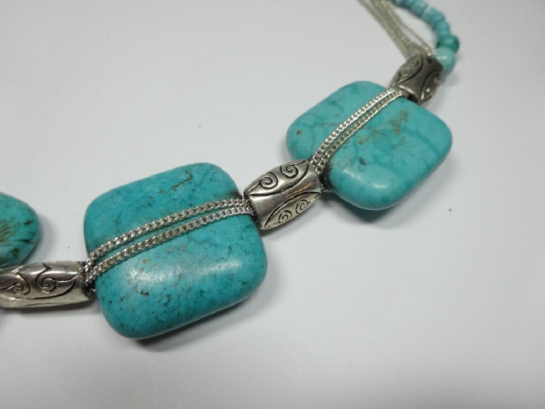 TURQUOISE NECKLACE, 5 LARGE SQUARE TURQUOISE STONES, - 4