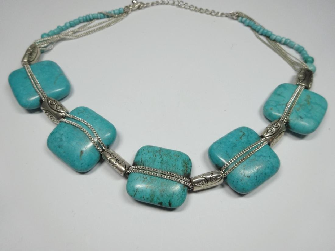 TURQUOISE NECKLACE, 5 LARGE SQUARE TURQUOISE STONES, - 5