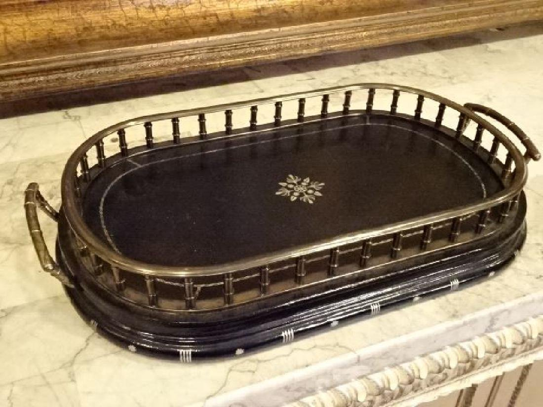 MAITLAND SMITH METAL AND LEATHER TRAY, OVAL BASE WITH - 2