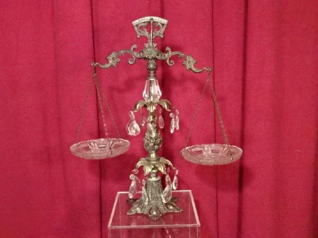 ORNATE METAL SCALE WITH CRYSTAL DROPS AND ACCENTS, VERY