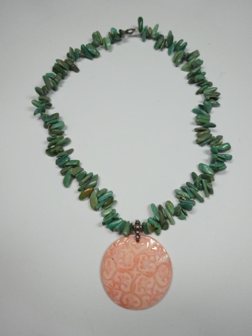 TURQUOISE NECKLACE WITH CARVED PINK SHELL PENDANT, - 2