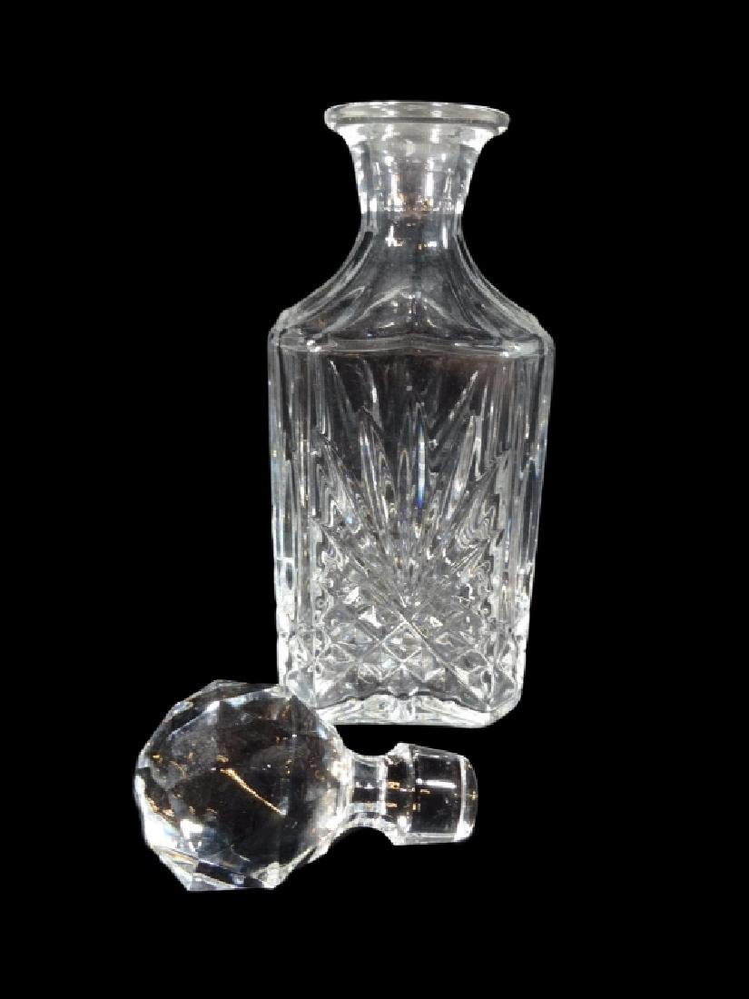 SQUARE CRYSTAL DECANTER, WITH FACETED ROUND STOPPER, - 3