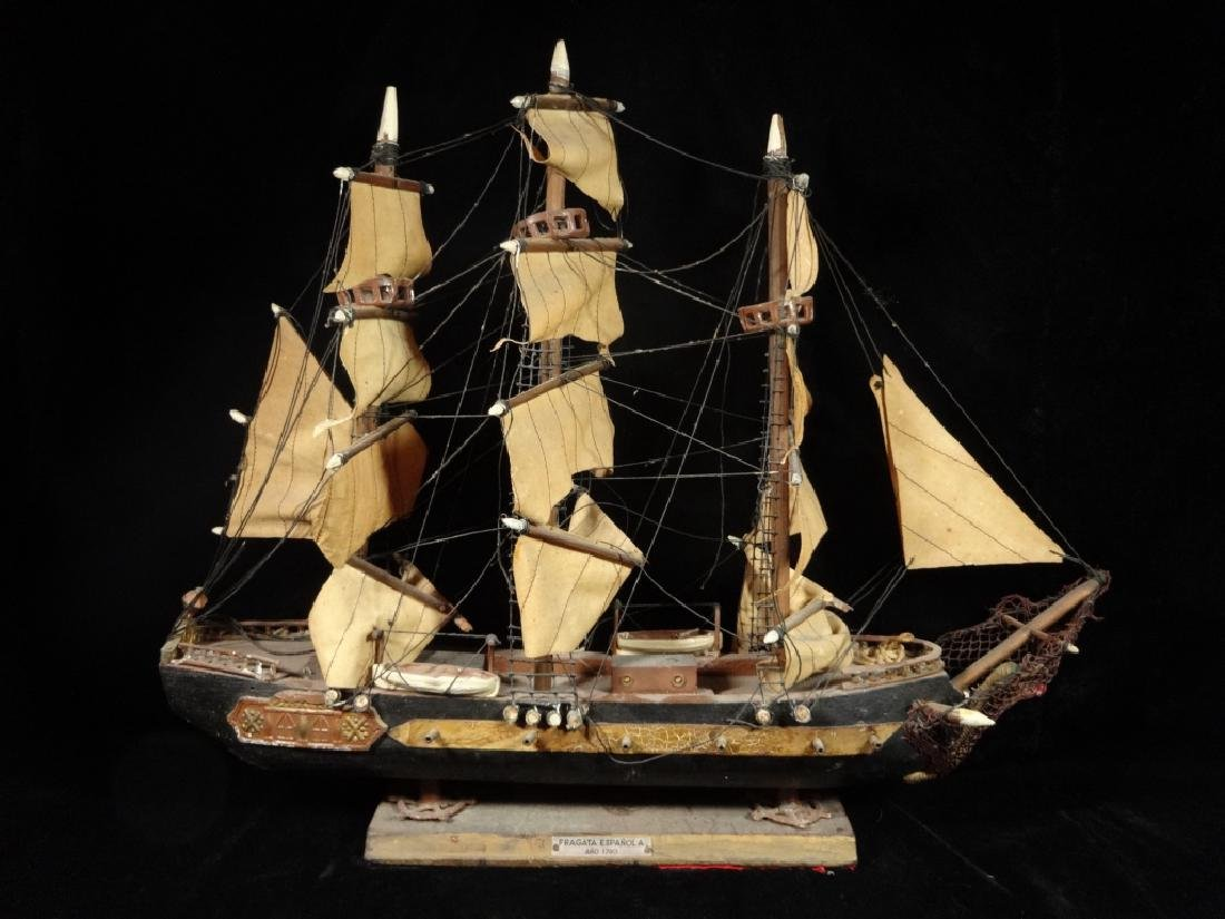 WOODEN SHIP MODEL, SPANISH FRIGATE CIRCA 1780, WITH