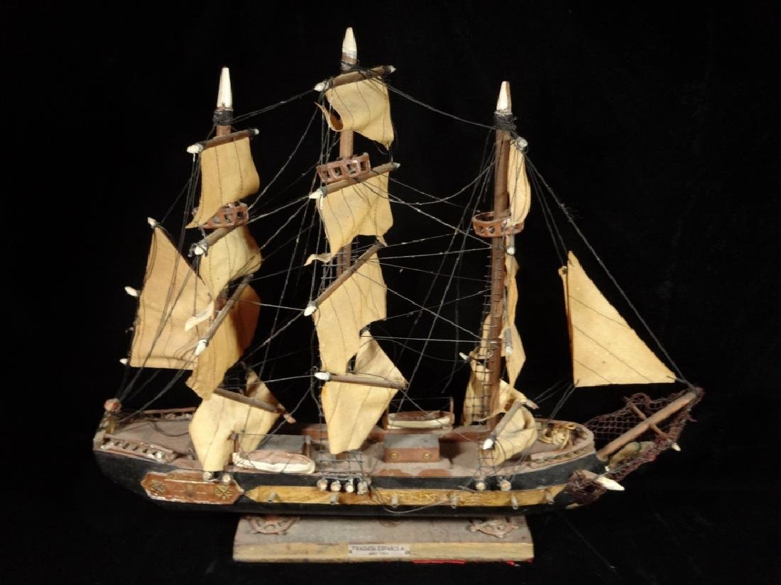 WOODEN SHIP MODEL, SPANISH FRIGATE CIRCA 1780, WITH - 2