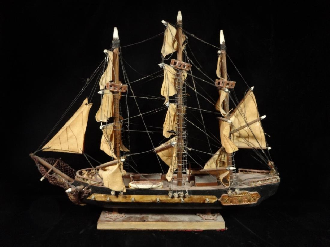 WOODEN SHIP MODEL, SPANISH FRIGATE CIRCA 1780, WITH - 3