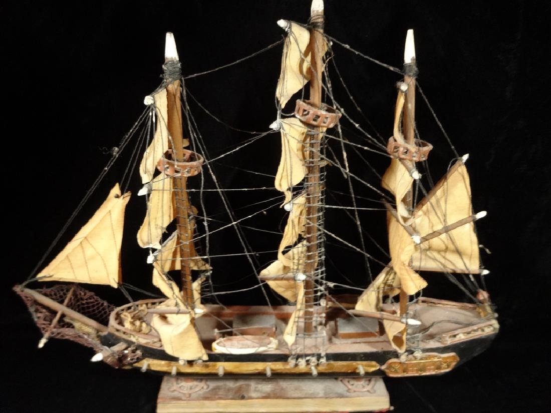 WOODEN SHIP MODEL, SPANISH FRIGATE CIRCA 1780, WITH - 4