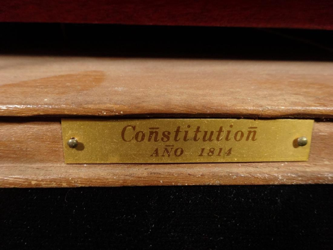 WOODEN SHIP MODEL, CONSTITUTION CIRCA 1814, WITH LABEL - 3