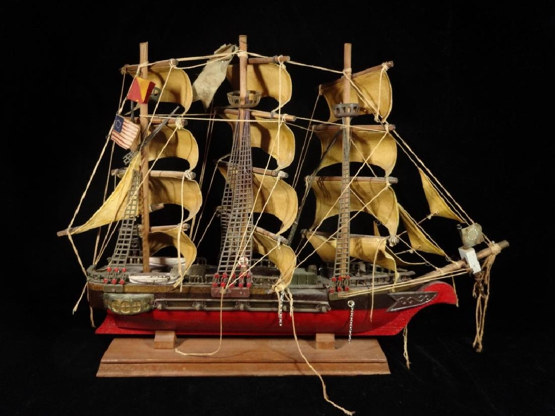 WOODEN SHIP MODEL, CONSTITUTION CIRCA 1814, WITH LABEL - 4