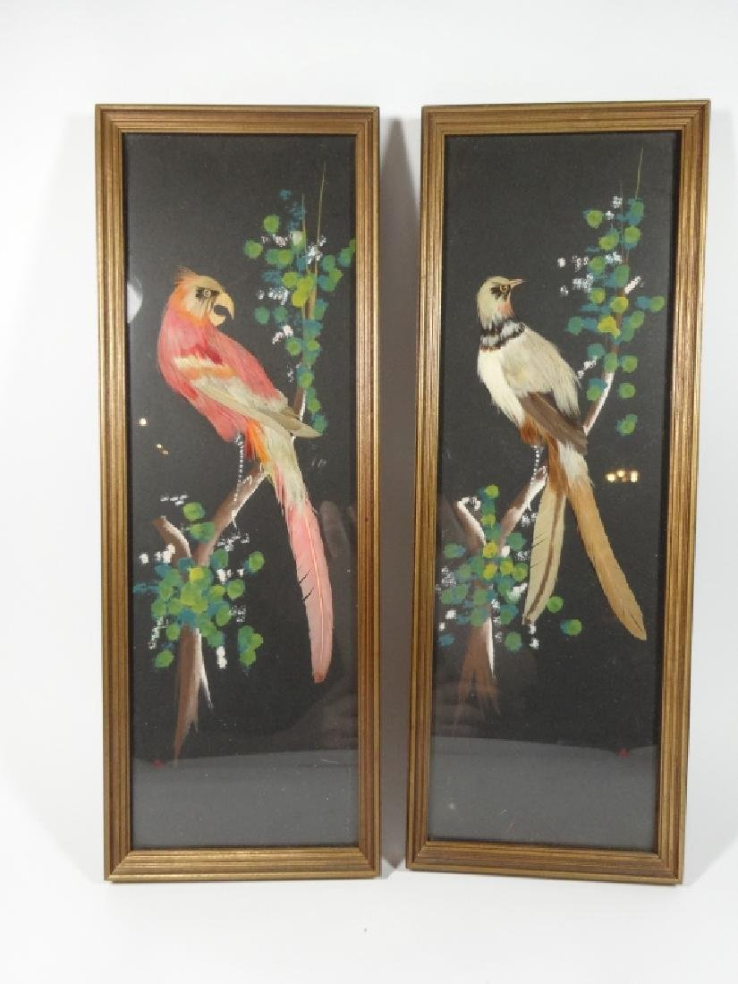 2 PC MID CENTURY FEATHER ART PLAQUES, BIRD DESIGNS,