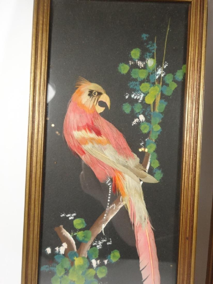 2 PC MID CENTURY FEATHER ART PLAQUES, BIRD DESIGNS, - 2