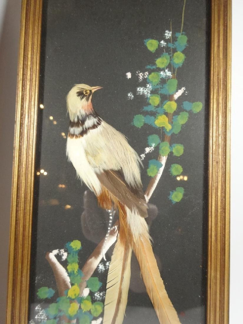 2 PC MID CENTURY FEATHER ART PLAQUES, BIRD DESIGNS, - 3