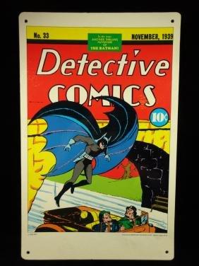VINTAGE 1970'S BATMAN COMIC PLACARD / SIGN, MID CENTURY