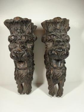 PAIR FIGURAL WALL SHELVES, CARVED WOOD LOOK COMPOSITE,
