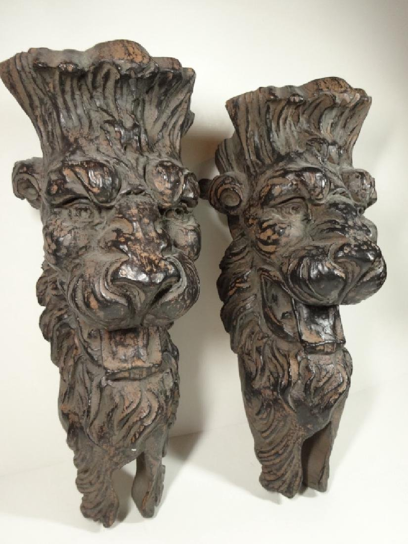 PAIR FIGURAL WALL SHELVES, CARVED WOOD LOOK COMPOSITE, - 2