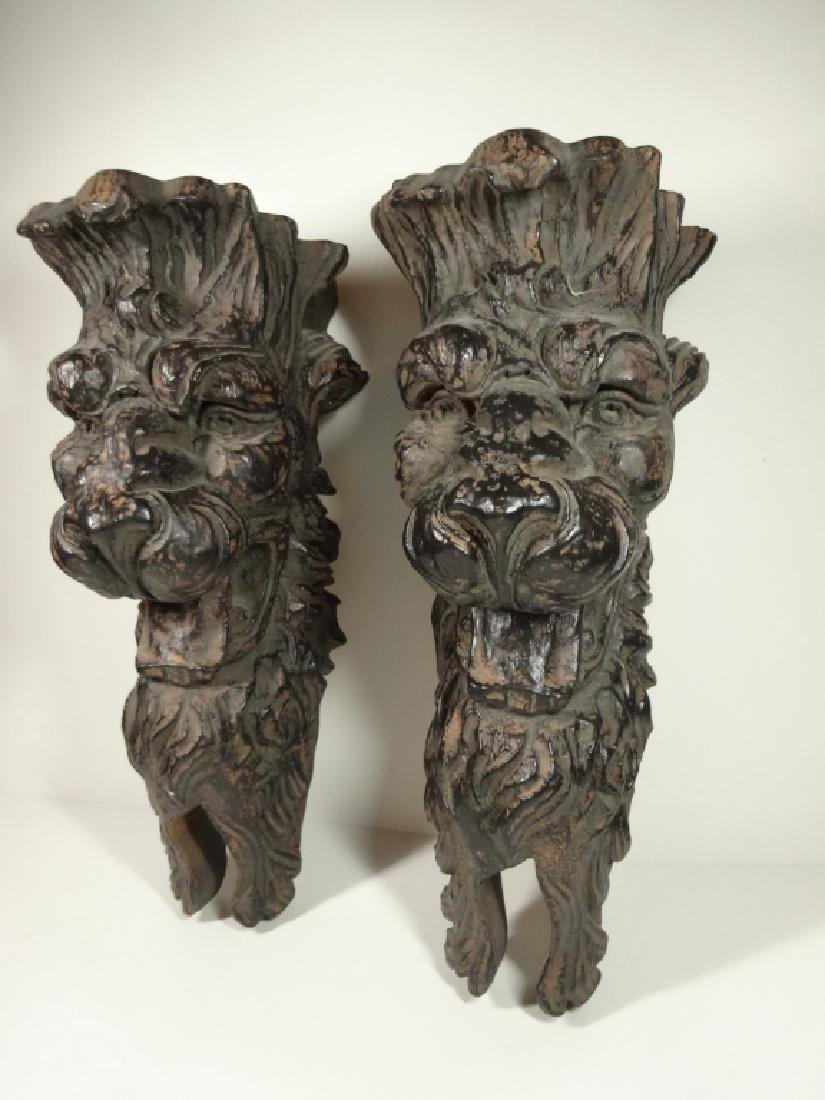 PAIR FIGURAL WALL SHELVES, CARVED WOOD LOOK COMPOSITE, - 3