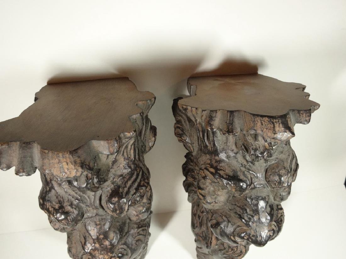 PAIR FIGURAL WALL SHELVES, CARVED WOOD LOOK COMPOSITE, - 4
