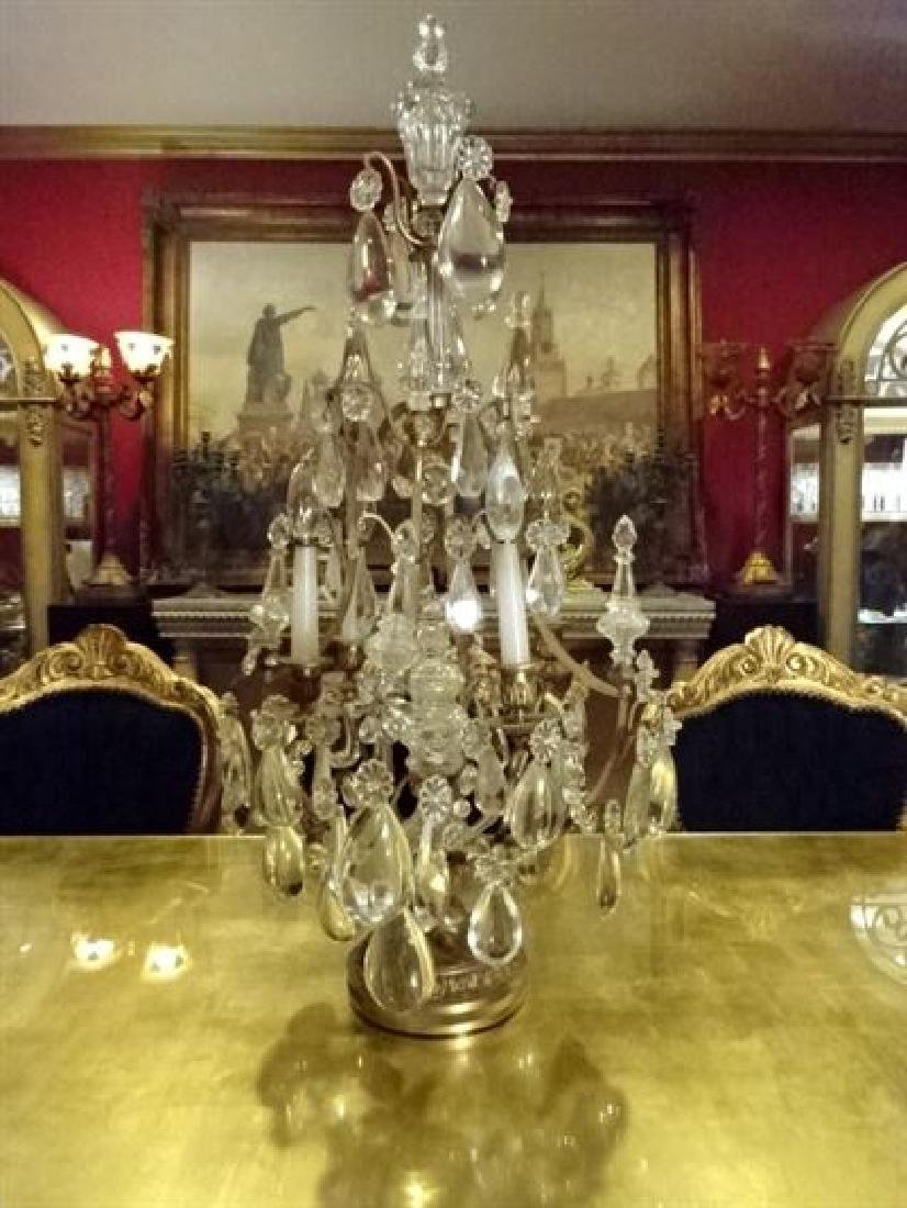 BACCARAT FRANCE CRYSTAL AND BRONZE GIRANDOLE,