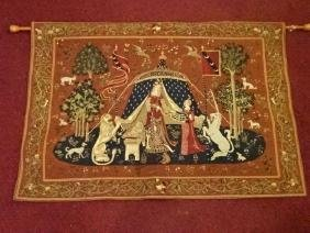 REPLICA 15TH CENTURY TAPESTRY, LADY WITH UNICORN, MADE